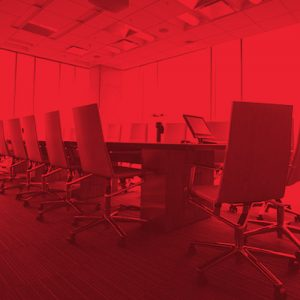 Red overlay conference table
